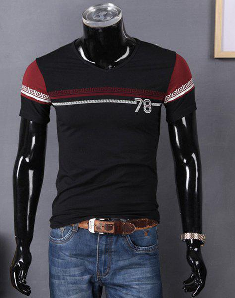 V-Neck Number and Geometric Print Color Block Splicing Short Sleeve Men's T-Shirt - BLACK M