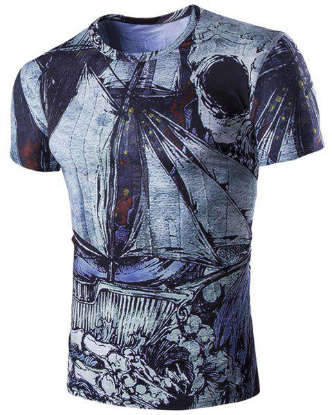 Abstract Print Short Sleeves Round Neck Men's T-Shirt - COLORMIX L