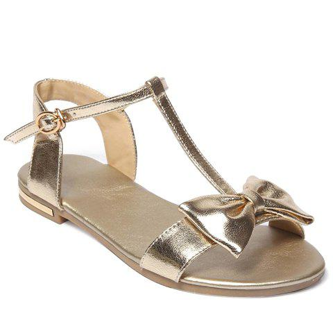 Fresh Style T-Strap and Bowknot Design Sandals For Women - GOLDEN 36