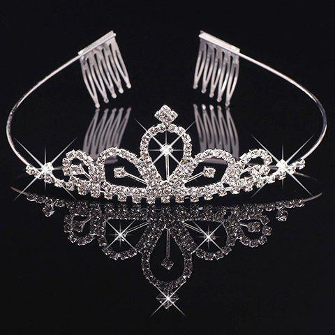 Stunning Rhinestoned Hollow Out Crown For Women -  SILVER