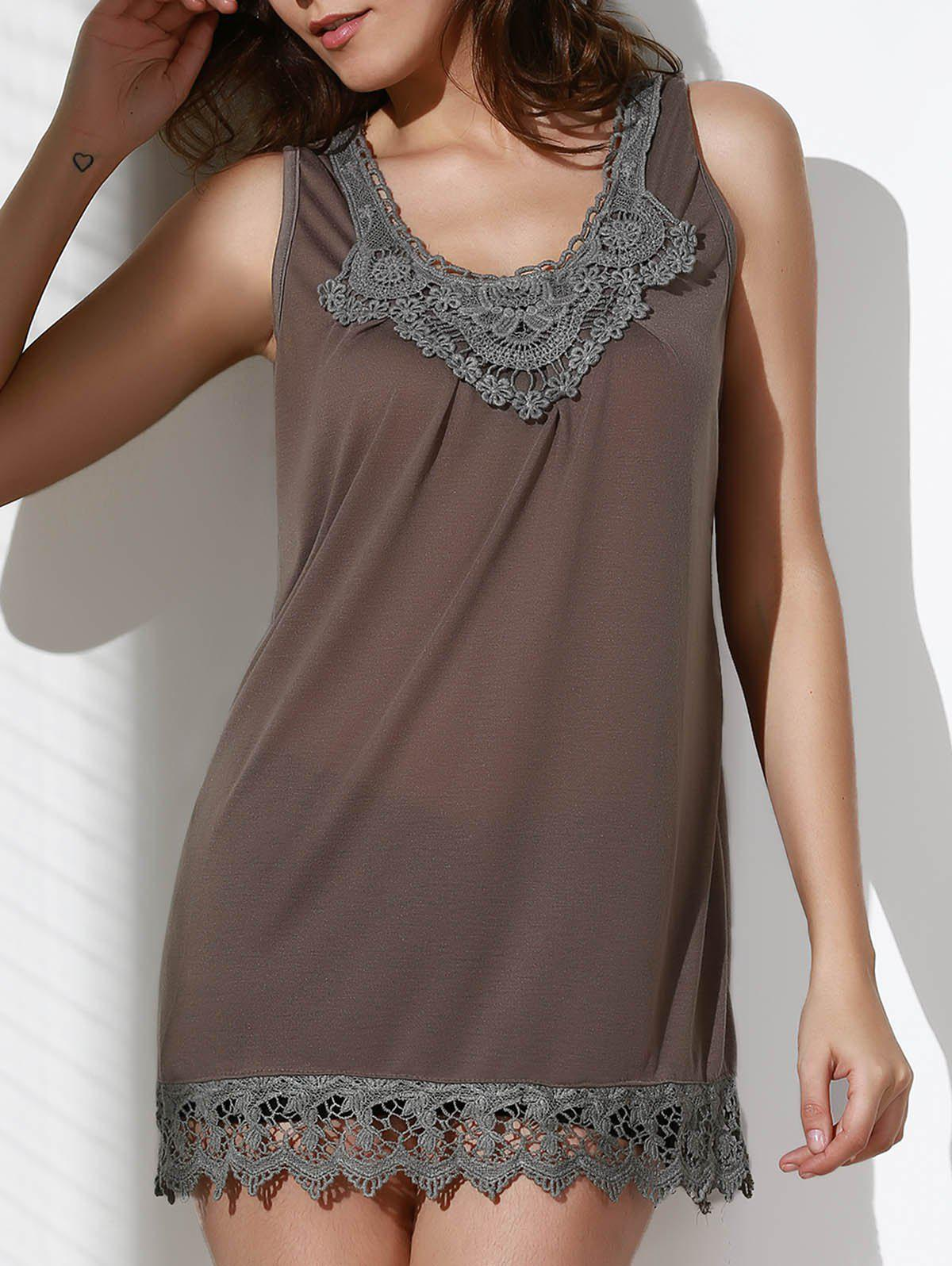 Casual Style Scoop Neck Sleeveless Crochet Laciness Spliced Women's Tank Top