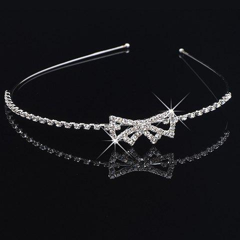 Stunning Rhinestone Bowknot Hairband For Women - SILVER
