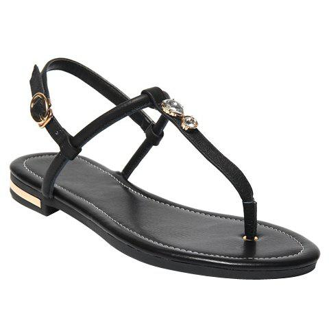 Preppy Style PU Leather and Flip Flops Design Sandals For Women - BLACK 34