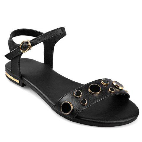 Casual Buckle and PU Leather Design Sandals For Women - BLACK 38