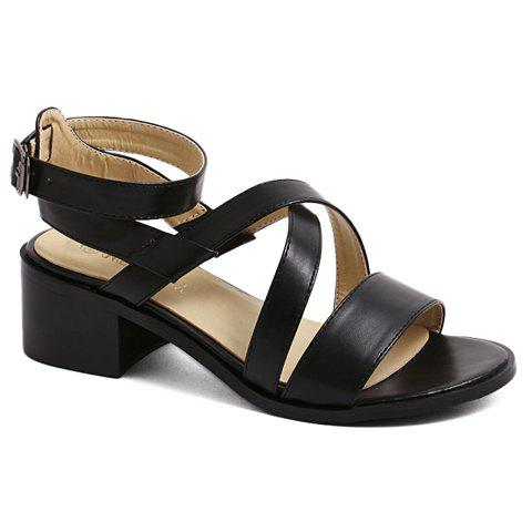 Fashion Cross-Strap and Black Design Women's Sandals - BLACK 38