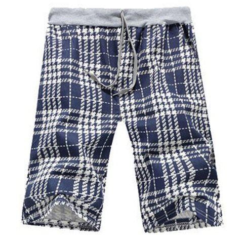 Straight Leg Tartan Print Drawstring Men's Shorts - CHECKED 2XL