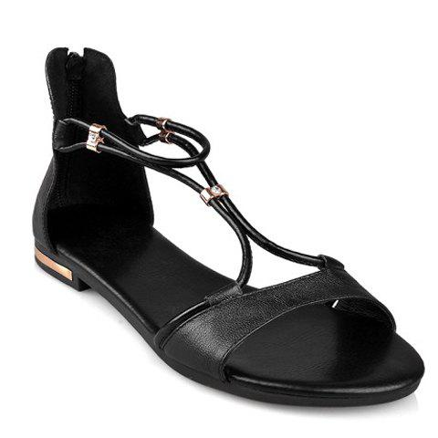 Simple Zipper and Flat Heel Design Sandals For Women - BLACK 38