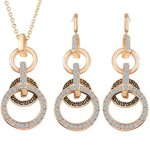 A Suit of Circular Rhinestone Necklace and Earrings - GOLDEN