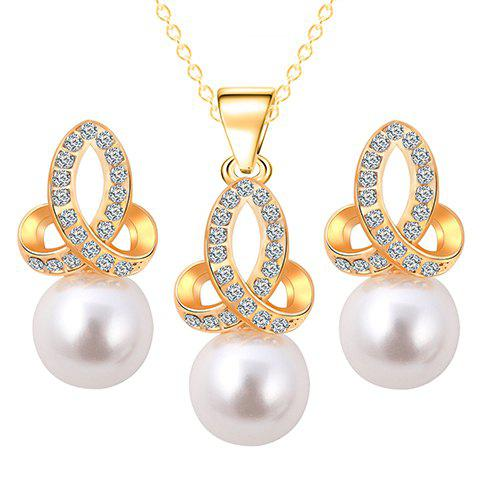 A Suit of Faux Pearl Rhinestone Necklace and Earrings - GOLDEN