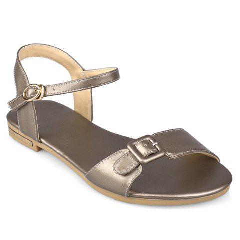 Trendy Buckle Strap and Solid Color Design Sandals For Women - CHAMPAGNE 39