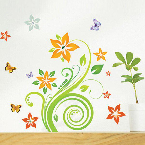 Stylish Floral Rattan Butterflies Pattern Bedroom Decoration Wall Stickers - COLORMIX