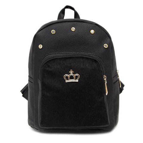 Stylish Black Color and Crown Design Women's Backpack - BLACK