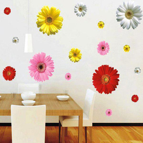 Stylish Removable Colorful Daisy Pattern Bedroom Decoration Wall Stickers - COLORMIX