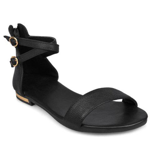 Simple Zipper and PU Leather Design Sandals For Women - BLACK 38
