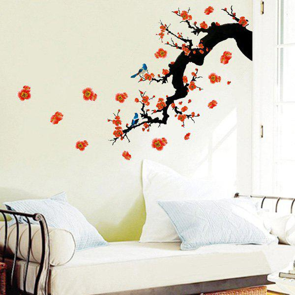 Stylish Floral Plant Pattern Bedroom Decoration TV Background Wall Stickers