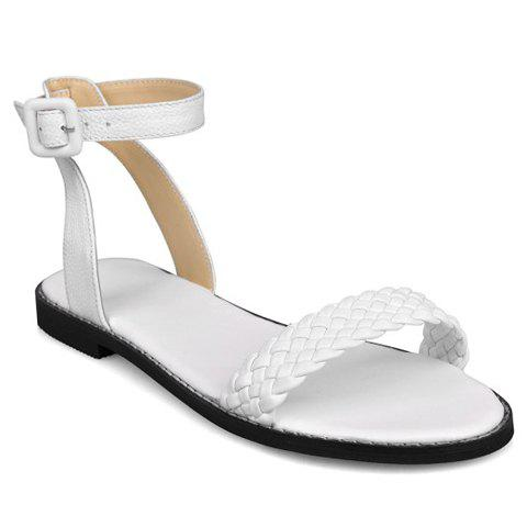 Casual Weaving and Buckle Strap Design Sandals For Women - WHITE 37