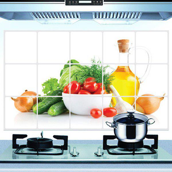 Stylish Oil-Proof Vegetable Pattern Kitchen Tile Decoration Wall Stickers - COLORMIX