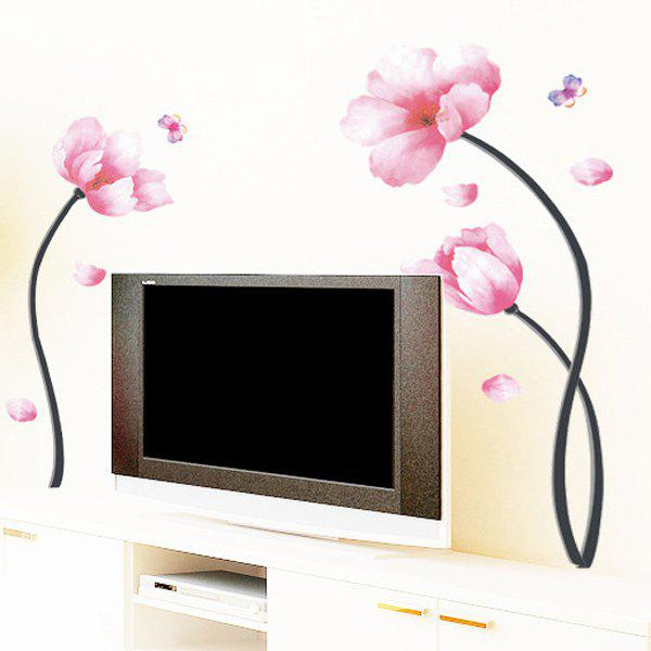 Stylish Removable Floral Pattern Bedroom Background Decoration Wall Stickers