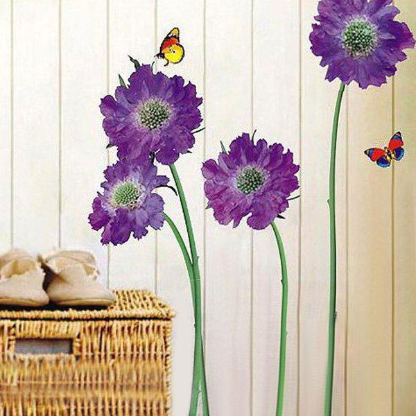 Stylish Removable Floral Butterflies Pattern Bedroom Background Decoration Wall Stickers