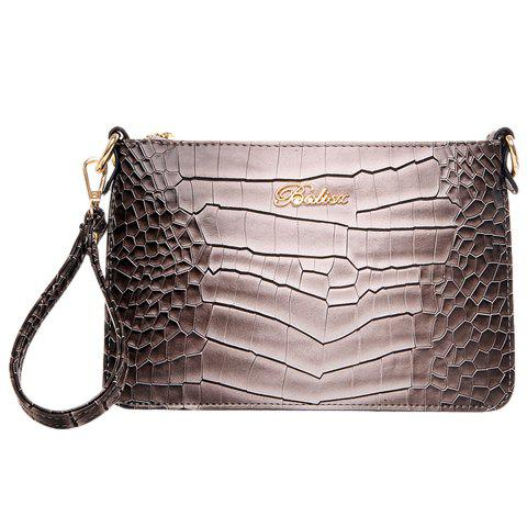 Stylish Metal and Gradient Color Design Clutch Bag For Women