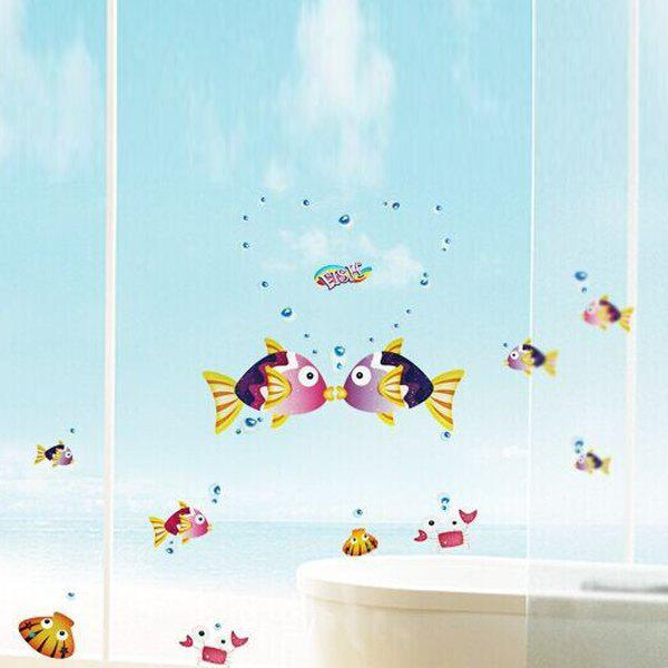 Stylish Removable Kissing Fish Pattern Bedroom Background Decoration Wall Stickers - COLORMIX