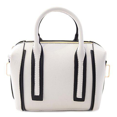 Trendy Colour Block and PU Leather Design Women's Tote Bag - WHITE