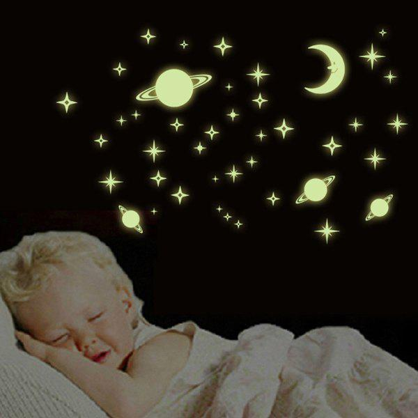 Stylish Night Sky Bedroom Ceiling Decoration Fluorescence Glow Wall Stickers - NEON GREEN