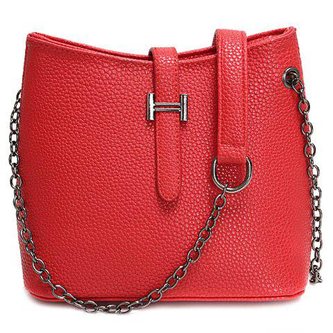 Trendy Chain and Solid Colour Design Women's Crossbody Bag - RED
