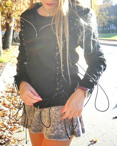 Chic Hooded Long Sleeve Zippered Lace-Up Women's Hoodie