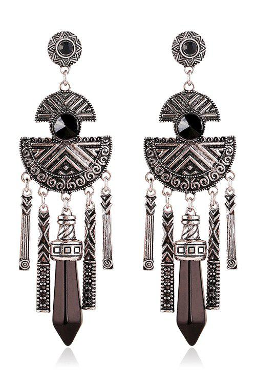Pair of Vintage Faux Gemstone Fringed Earrings - BLACK
