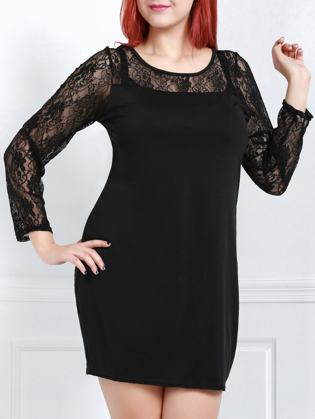 Sexy Long Sleeve Scoop Neck Spliced Women's Dress - BLACK XL