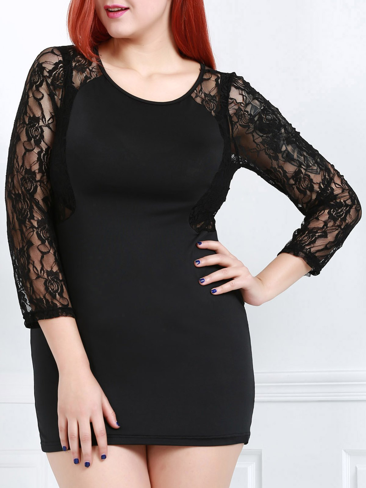 Sexy Scoop Neck Long Sleeve See-Through Flower Pattern Women's Dress - BLACK 3XL
