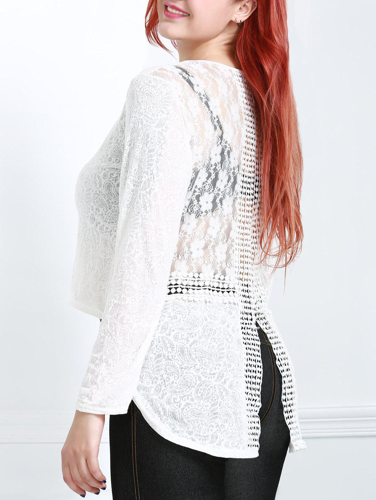 Stylish Long Sleeve Round Collar Pure Color Womens T-ShirtWomen<br><br><br>Size: L<br>Color: OFF-WHITE