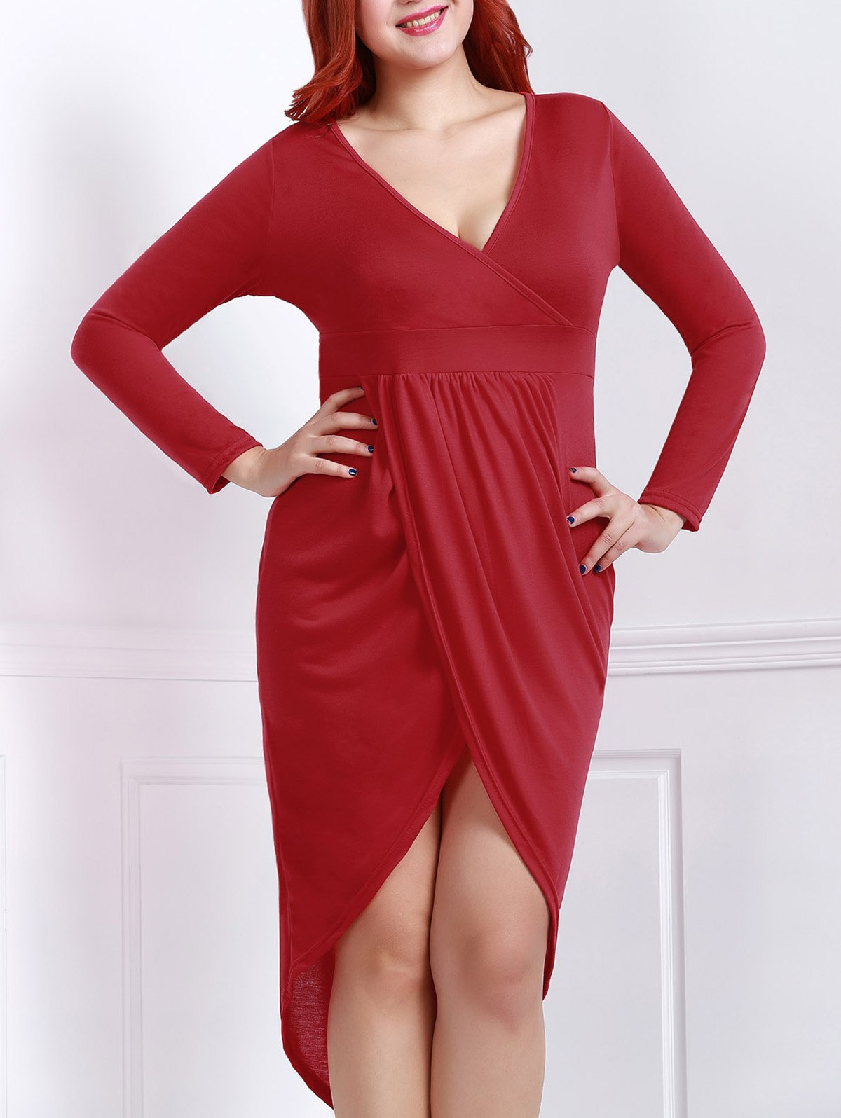 Sexy Plunging Neck Solid Color High-Low Hem Plus Size Long Sleeve Women's Dress - RED XL