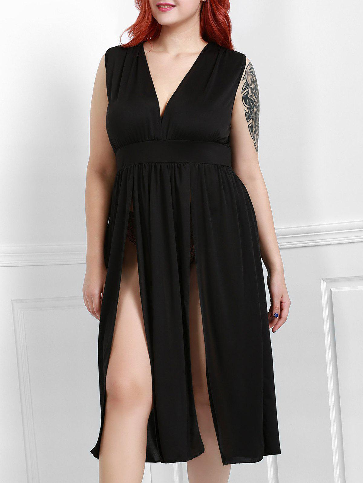 Sexy Plunging Neck Sleeveless Solid Color Plus Size High Slit Women's Dress - BLACK XL