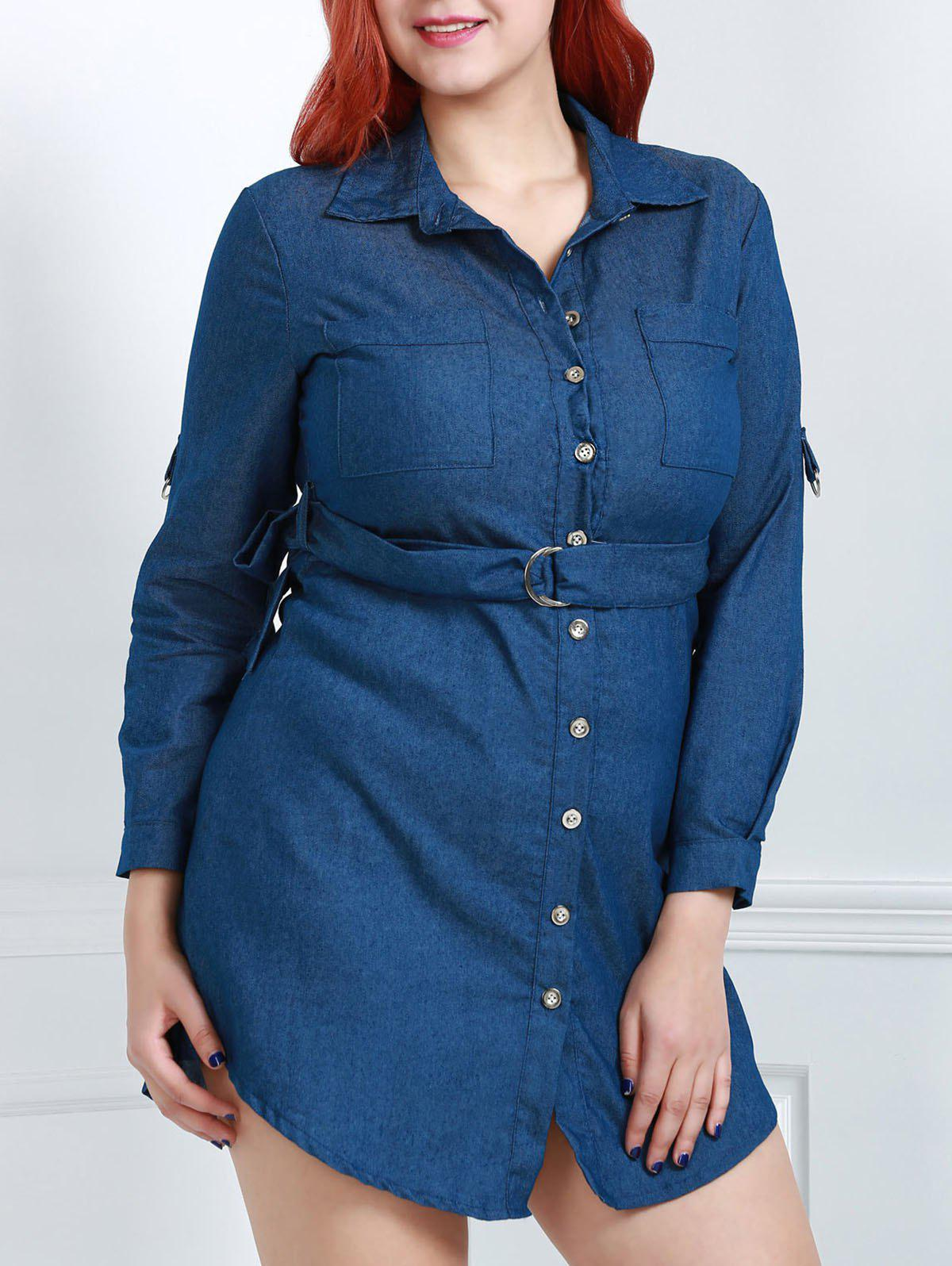 Stylish Turn-Down Collar Long Sleeve Plus Size Belted Women's Denim Dress