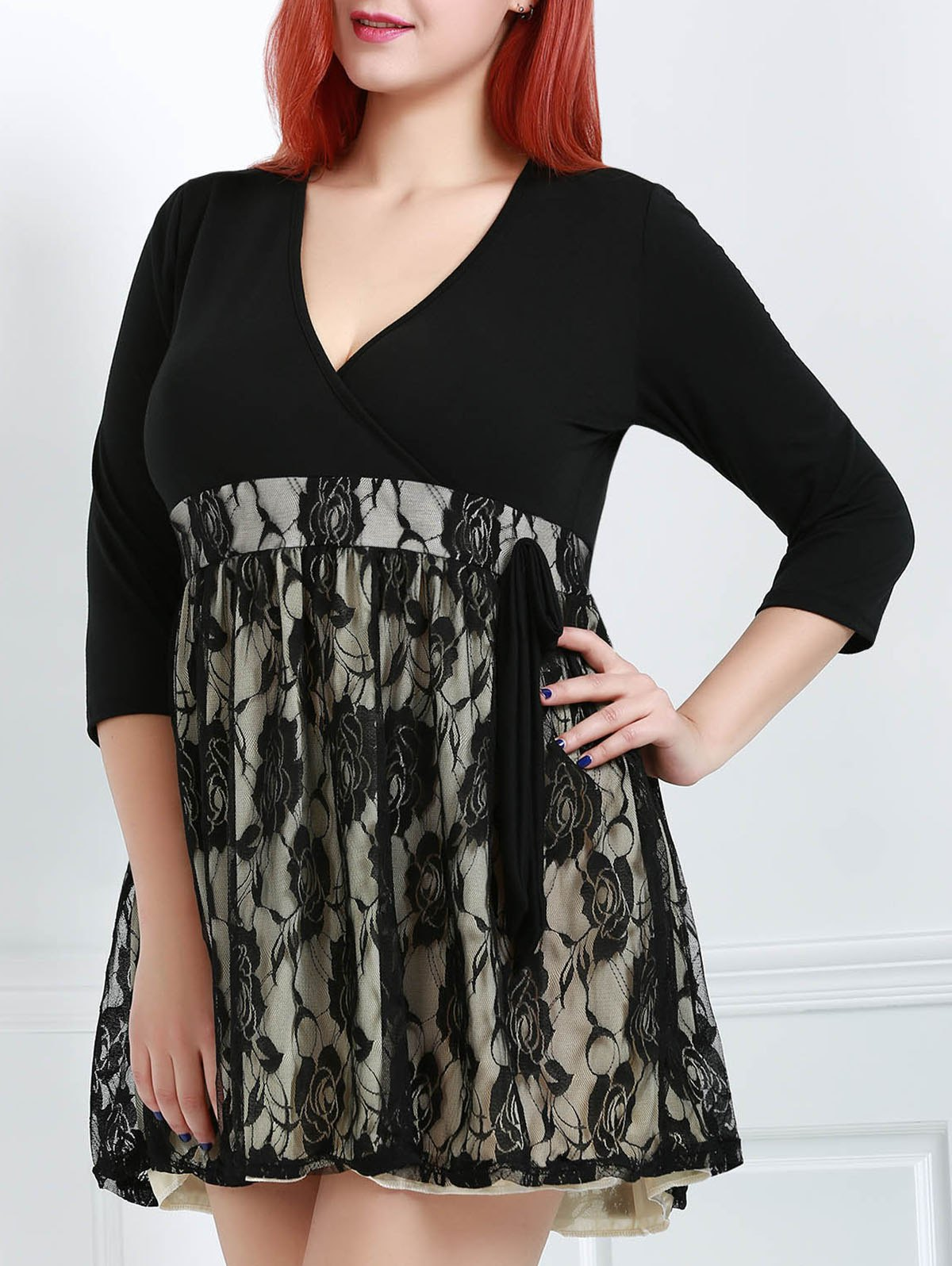 V-Neck 3/4 Sleeve Lace Plus Size Dress For Women - BLACK 2XL