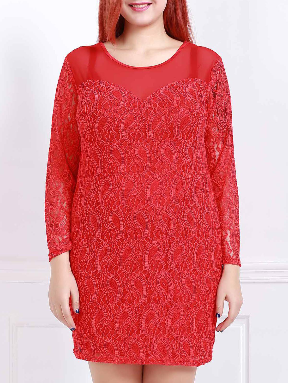 Stylish Scoop Neck 3/4 Sleeve Plus Size Solid Color Women's Lace Dress - RED 3XL