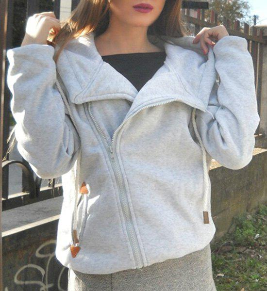 Women's Chic Hooded Long Sleeve Pure Color Hoodie