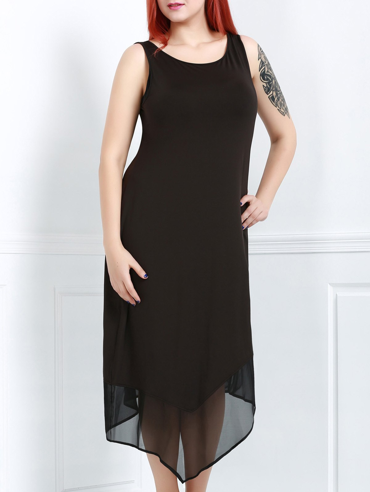 Simple Black Round Collar Sleeveless Dress For Women - BLACK 3XL