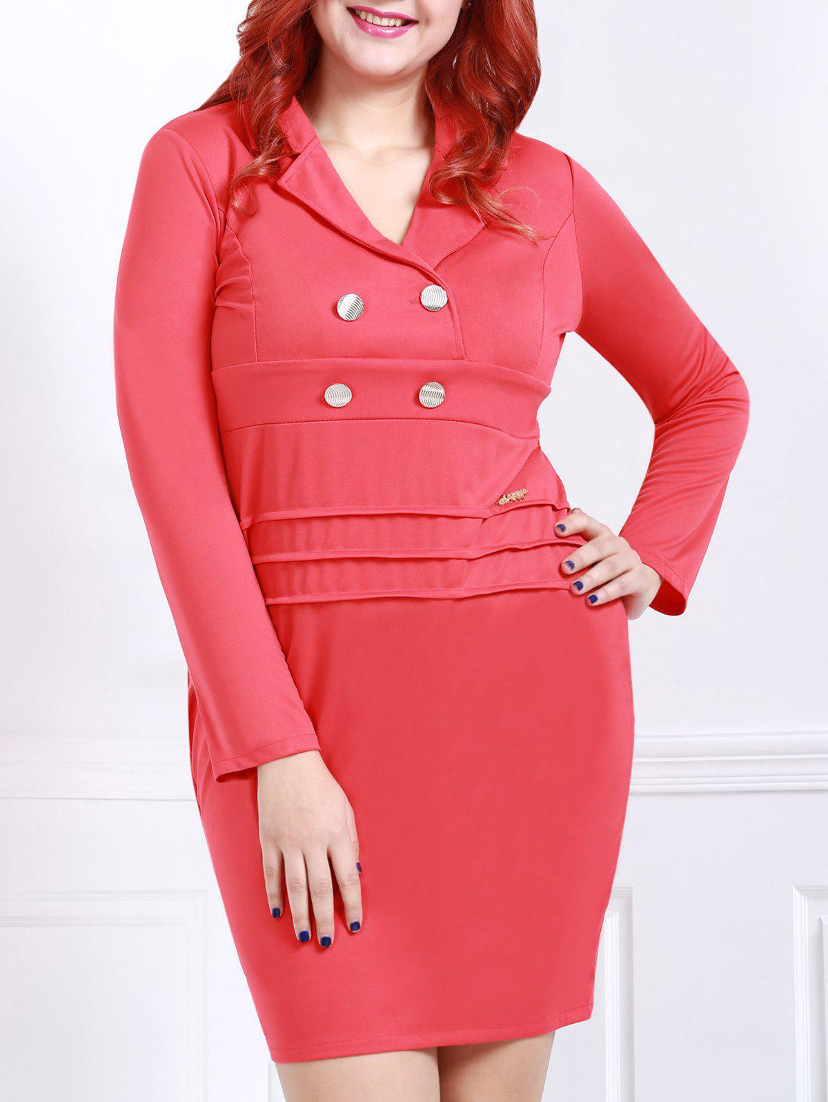 Graceful Red Lapel Long Sleeve Dress For Women