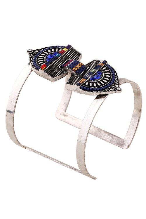 Stylish Bead Decorated Cuff Bracelet For Women - SAPPHIRE BLUE