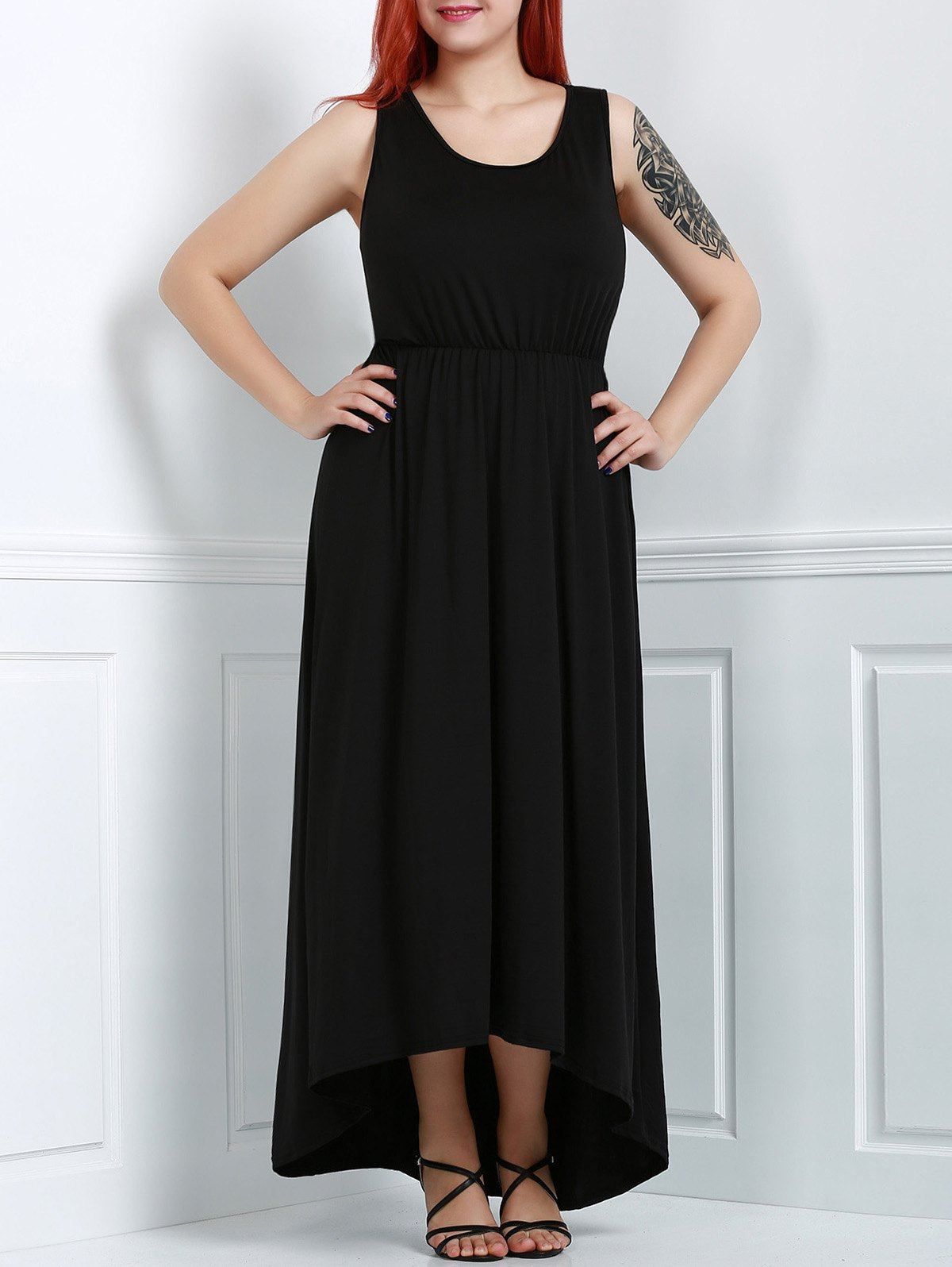 Trendy Black U-Neck Sleeveless High Waist Asymmetric Plus Size Dress For Women - BLACK 3XL