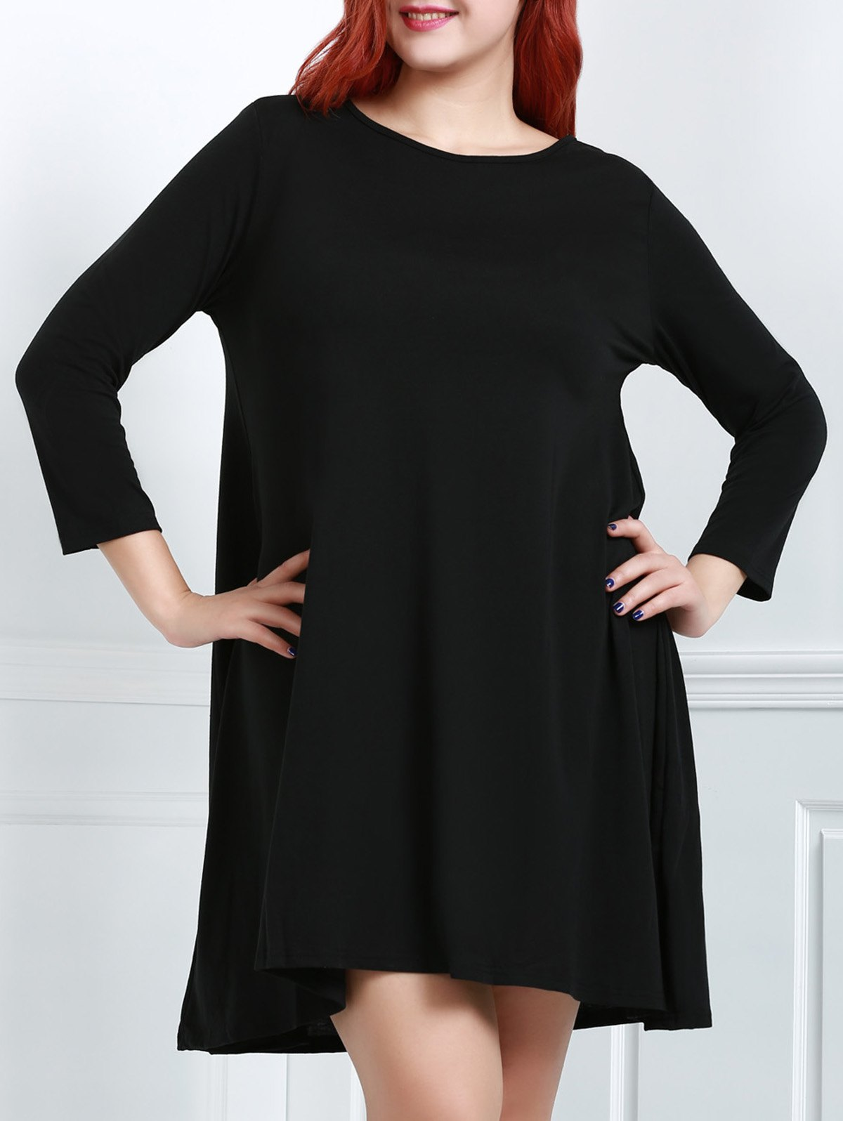 Casual Solid Color Round Collar Long Sleeve Midi Dress For Women - BLACK 2XL