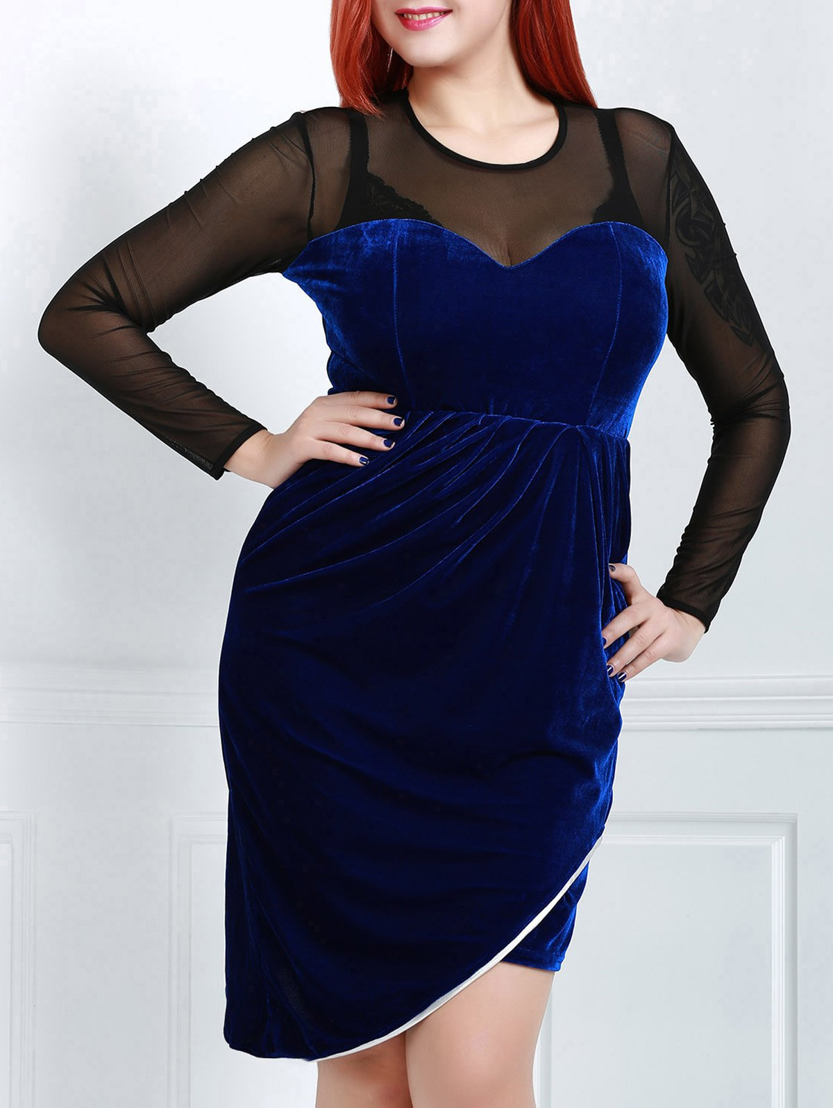 Sexy Long Sleeve Round Neck See-Through Women's Plus Size  Dress - BLUE 2XL