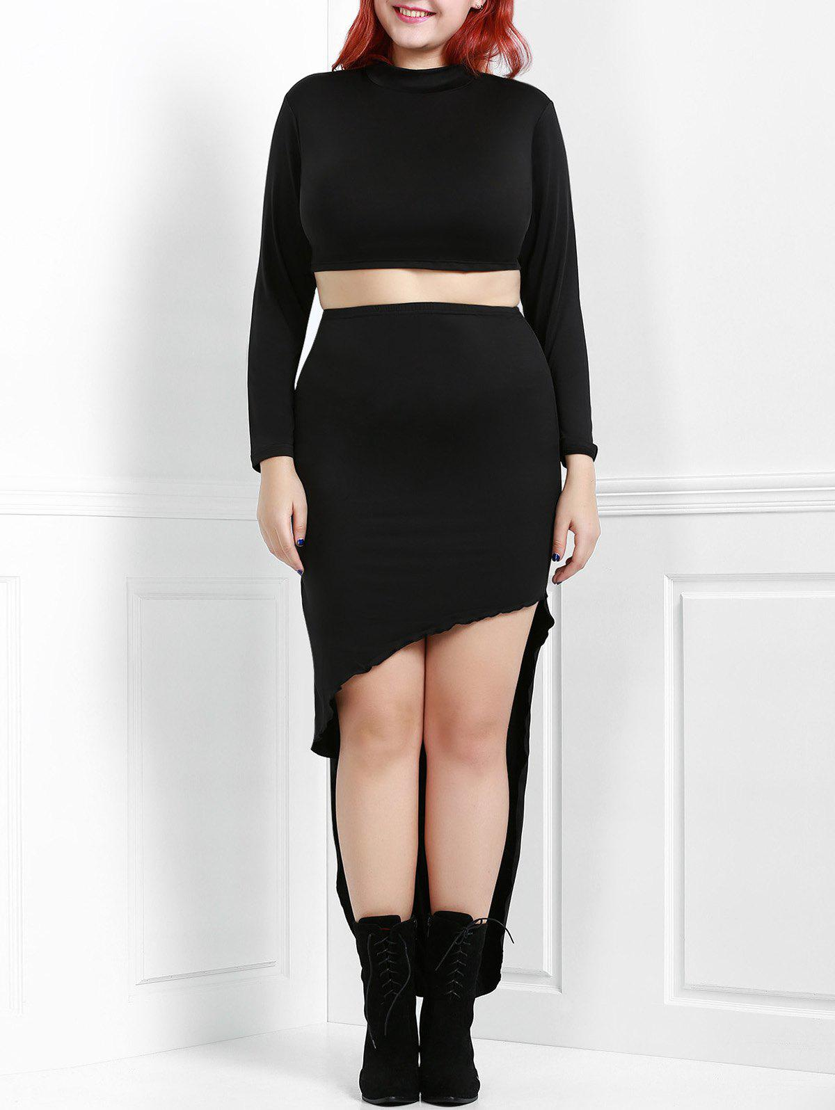 Stylish Black Stand Collar Long Sleeve Crop Top and Irregular Asymmetric Skirt Twinset For Women - BLACK 3XL