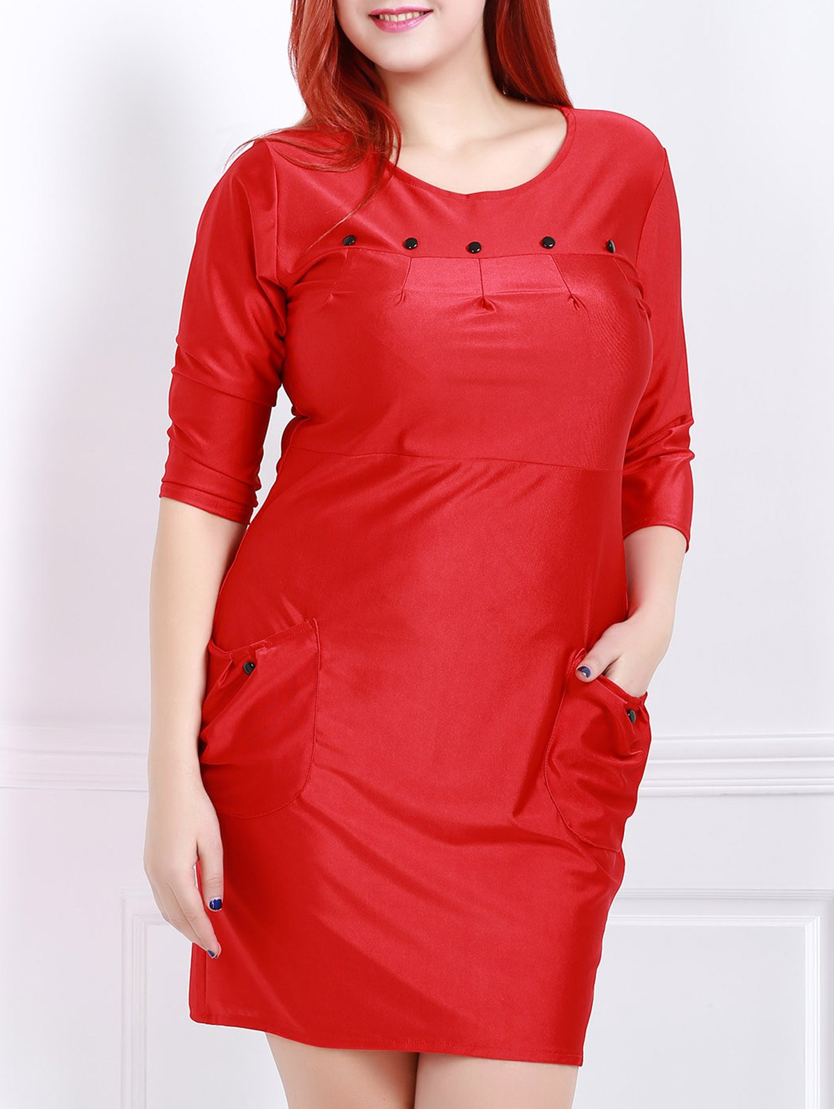Charming Solid Color Button Design 3/4 Sleeve Plus Size Dress For Women - RED 3XL