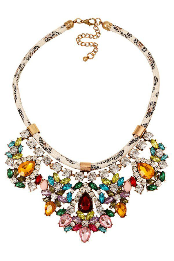 Noble Faux Crystal Floral Design Necklace For Women - COLORMIX