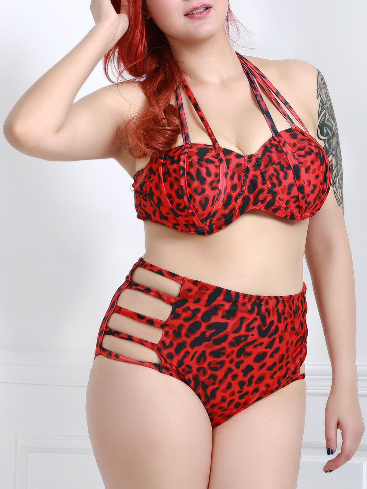 Plus Size Halter Leopard Women's Bikini Set - RED 2XL