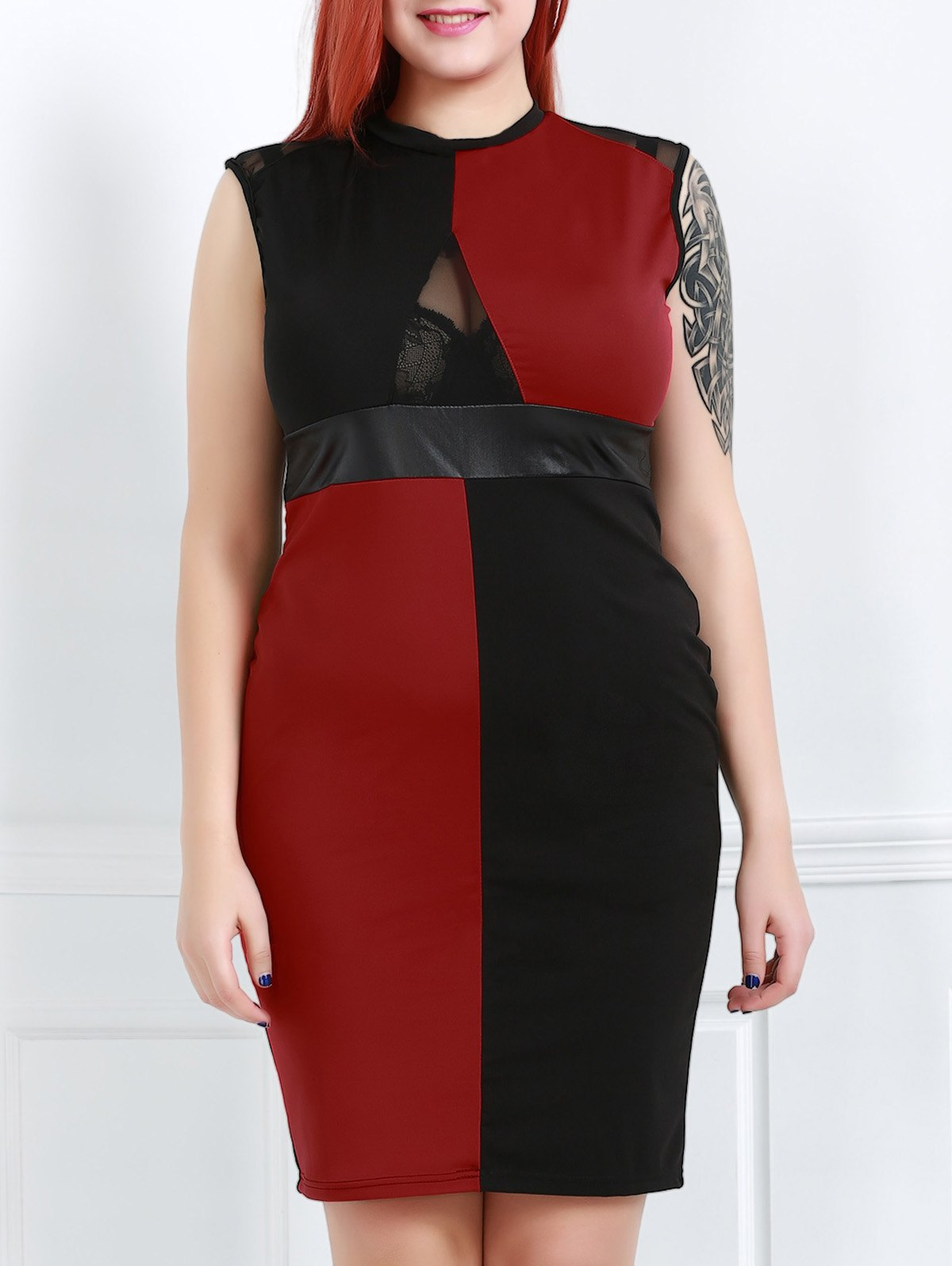 Sexy Round Neck Sleeveless Hit Color See-Through Women's Dress - RED/BLACK XL